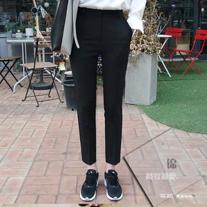 这条暗扣小脚西裤修身弹力高腰显瘦九分西装裤女小腿裤OL上班春夏