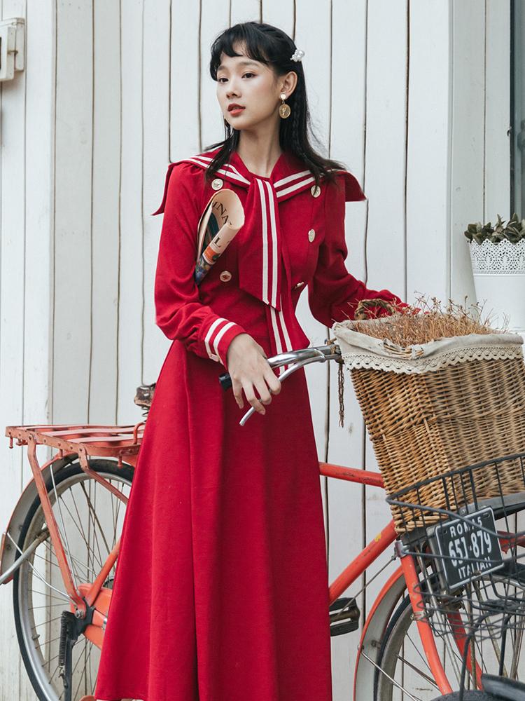 秋装2019年新款海军风法式连衣裙10月10日最新优惠