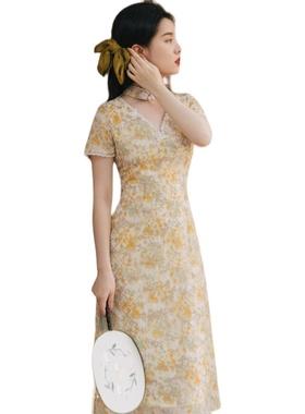 法式宫廷复古刺绣改良版旗袍连衣裙