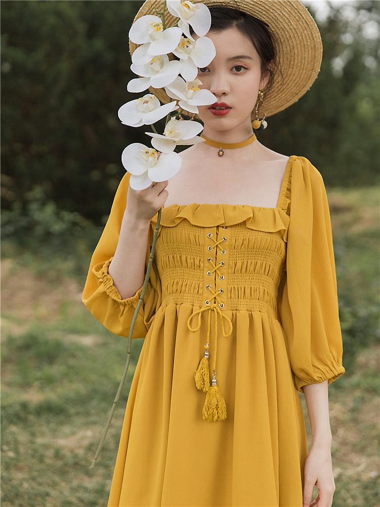 2020年新款春装女法式宫廷复古方领露背雪纺连衣裙子仙女超仙森系 thumbnail