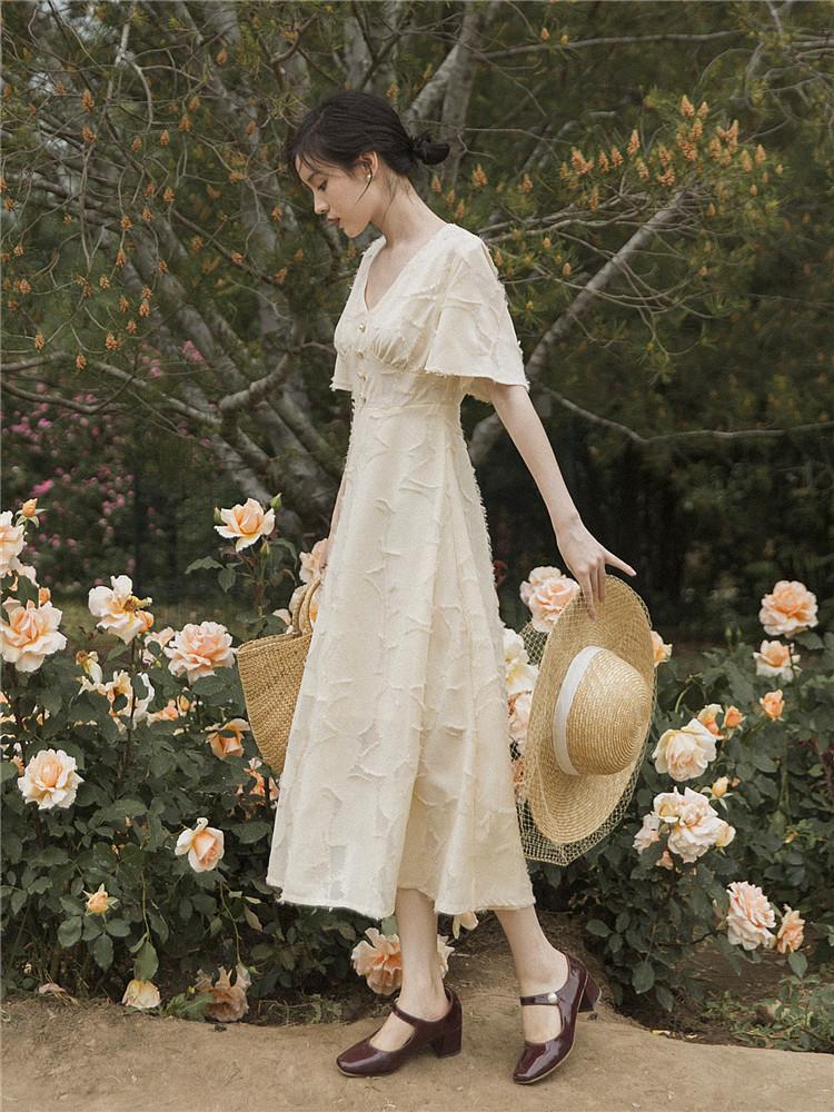 法式桔梗复古少女收腰显瘦连衣裙