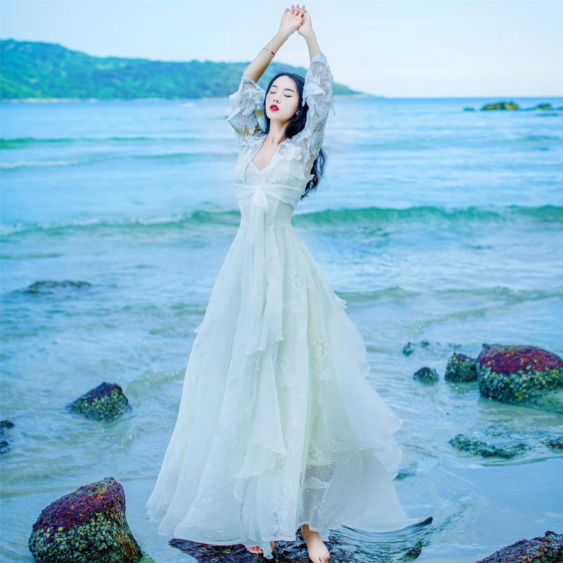 吊带裙女夏防晒两件套连衣裙波西米亚海边度假沙滩大摆长裙超仙女