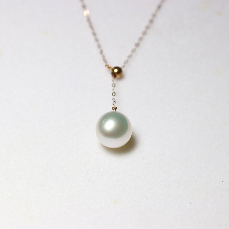 Yueyuji Australian white pendant Y-shaped regulating chain 18K Gold Nanyang white pearl Australian white pearl single pendant sea bead