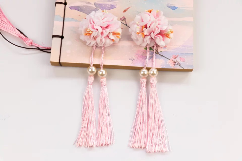 Ancient Hanfu ancient costume accessories silk flower headdress ribbon cos childrens hairpin with tassels on the edge of Chinese hairpin 11