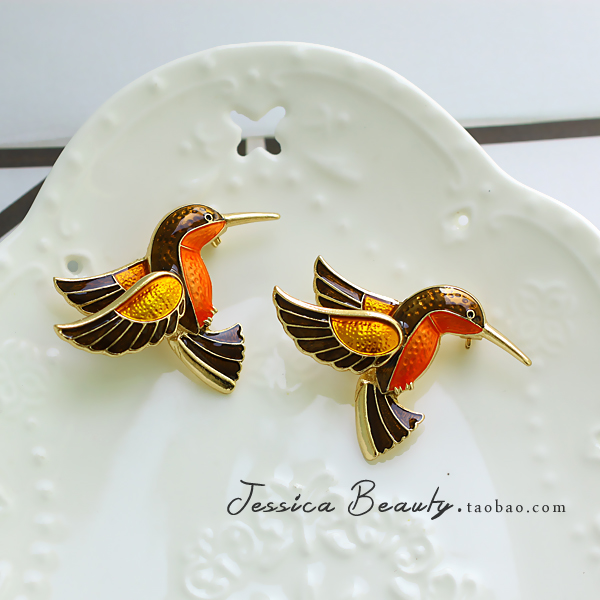 Antique Western antique enamel drop glaze luxury Hummingbird Brooch