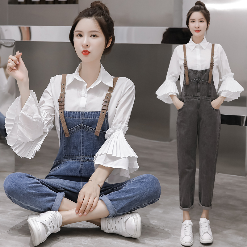 New 2019 net red autumn and winter work clothes age reducing foreign style denim suspenders versatile show thin shirt two piece set for women