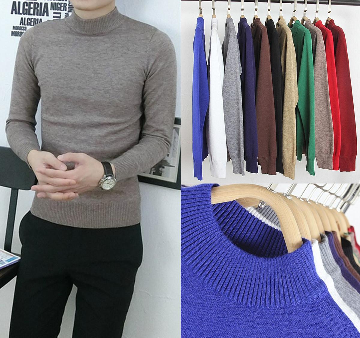 【天天特价】男士韩版修身毛衣纯色英伦半高领针织衫男套头打底衫