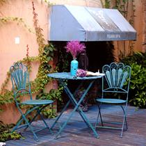 美式乡村铁艺复古户外折叠桌椅套件室外庭院桌椅三件套花园阳台