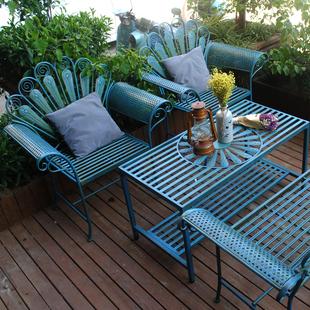 花园做旧桌椅套件铁艺长椅阳台别墅孔雀双人椅公园椅庭院休闲装 饰