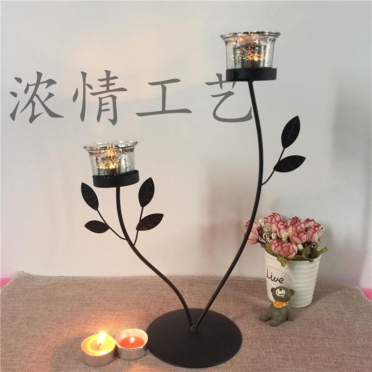 特价浓情工艺欧式创意铁艺烛光晚餐烛台摆件蜡烛架软装饰品包邮