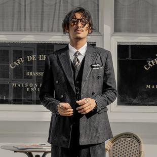 SOARIN英伦风复古双排扣西装男 商务正装黑色条纹职业装西服外套