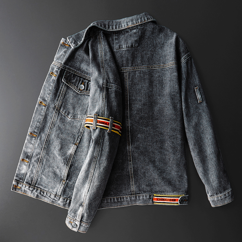 Motorcycle denim jacket jacket mens Korean version trend loose spring and autumn retro casual young mens Denim