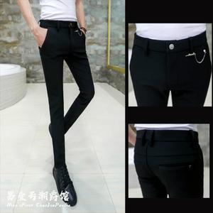 夏季黑色休闲西裤男韩版潮流修身个性发型师弹力九分小脚裤子薄款