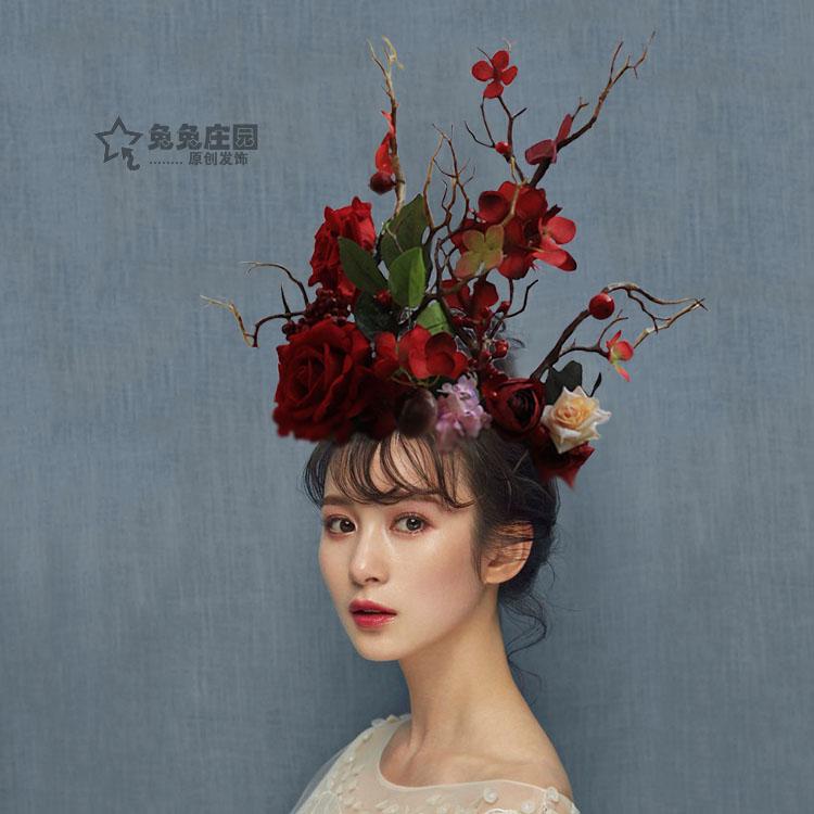 创意新娘夸张头饰超大舞台走秀个性红色复古森系影楼鹿角树枝发饰