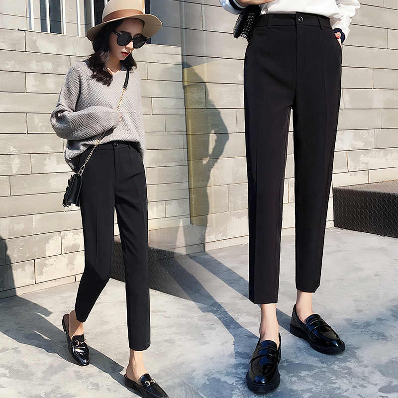 Suit pants womens spring and autumn Pants Large High Waist womens pants straight tube small vertical feeling trousers nine point autumn and winter pipe pants