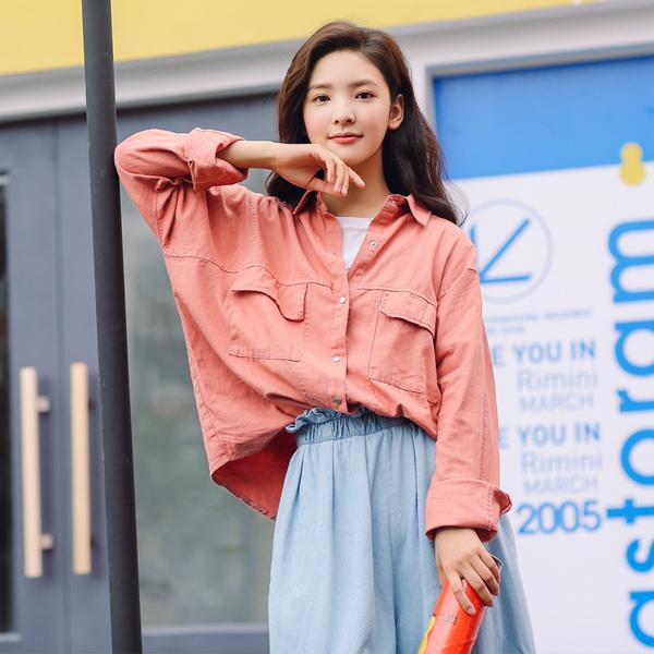 2018春夏新品实拍081#韩版休闲宽松百搭薄款学生纯色衬衣开衫外套