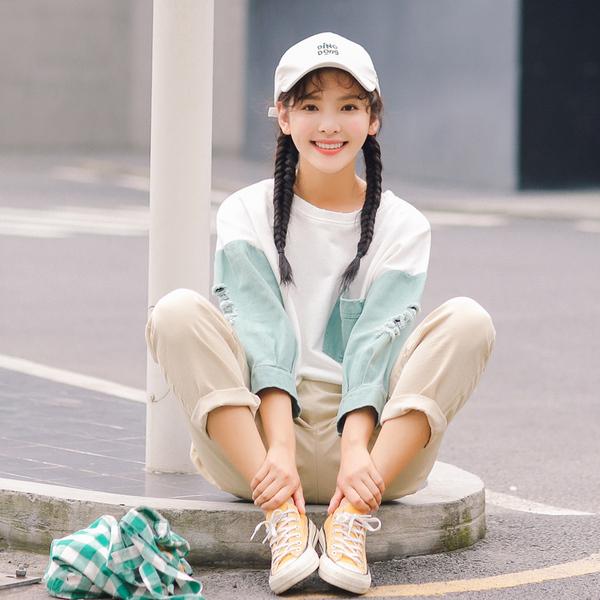 实拍2018春夏新品 095#韩版休闲拼色套头卫衣学生女 现货