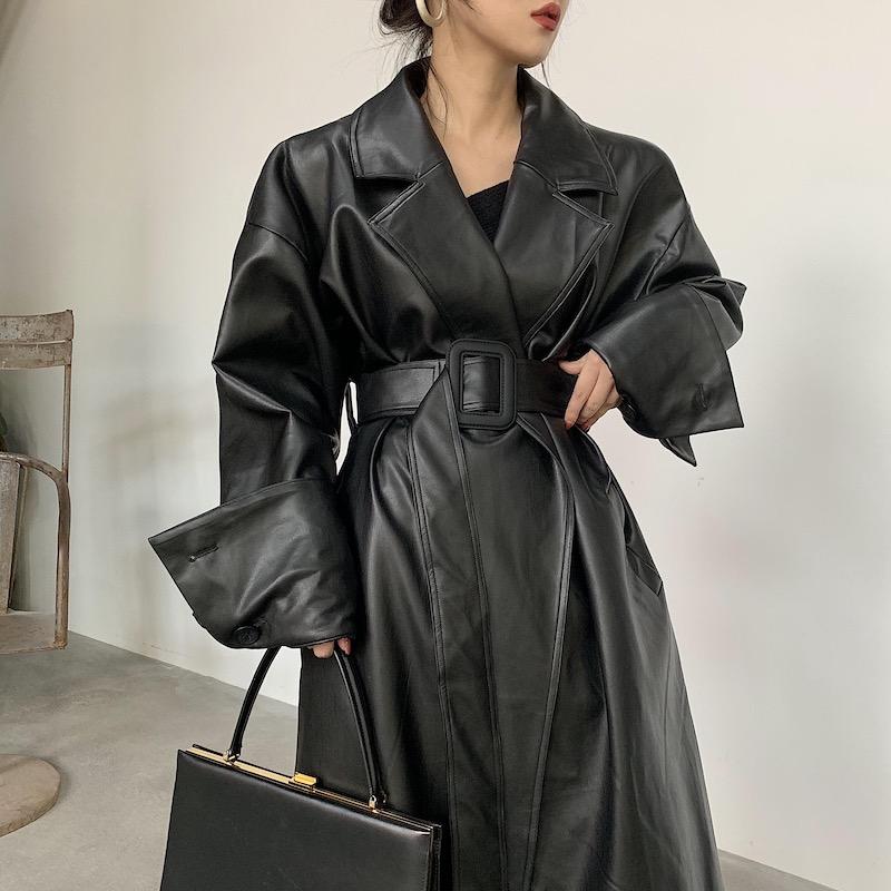 BOCCALOOK定制冬季收腰系带黑色长款帅气皮衣大衣外套女夹棉加厚