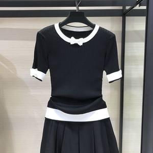 希哥弟思媞女装2020夏季新款专柜正品蝴蝶结冰丝针织衫短袖T恤女