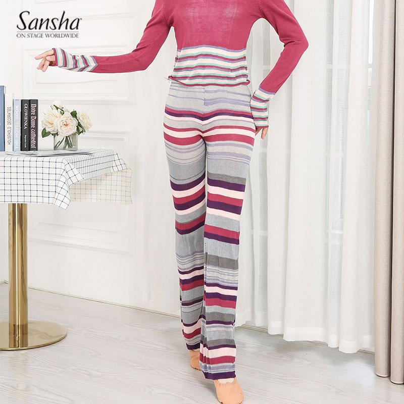 Sansha 法国三沙芭蕾舞针织保暖长裤女预热练功体操舞蹈健身服