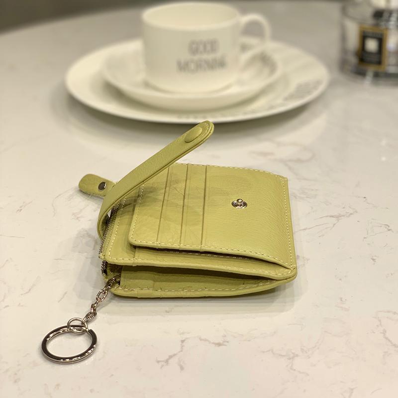 超薄多卡位拉鏈卡套女韓潮真皮簡約身份證公交牛皮卡包零錢包短款