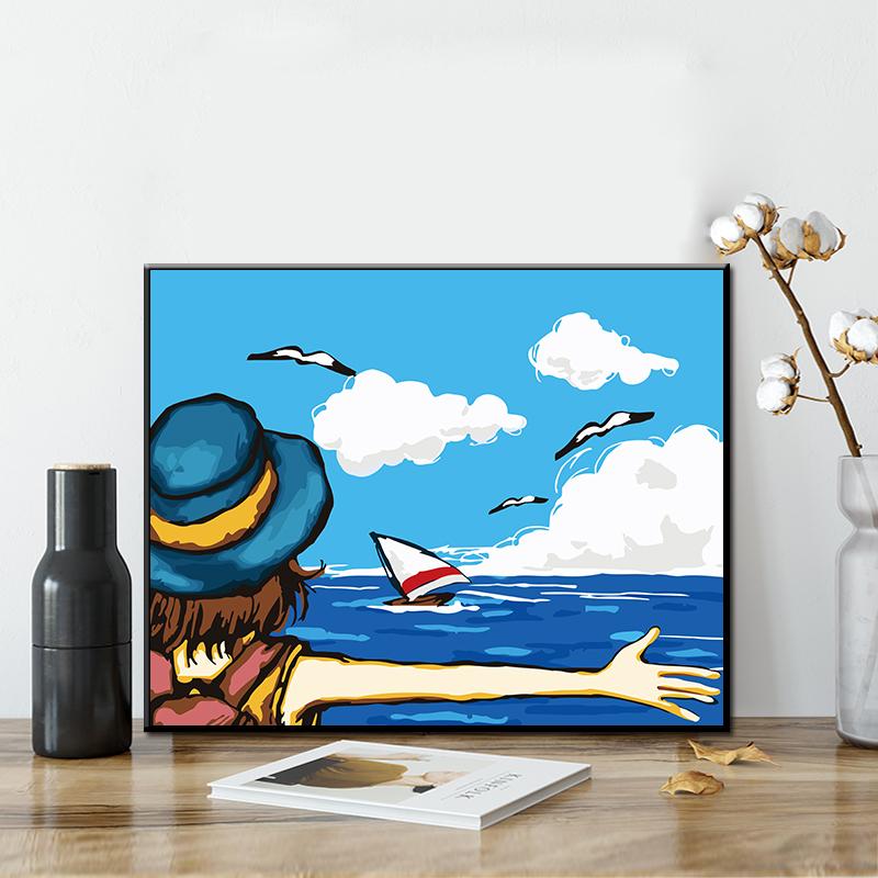16.80元包邮diy数字油画 手绘填色卡通动漫客厅风景装饰油彩画30*40 拥抱大海