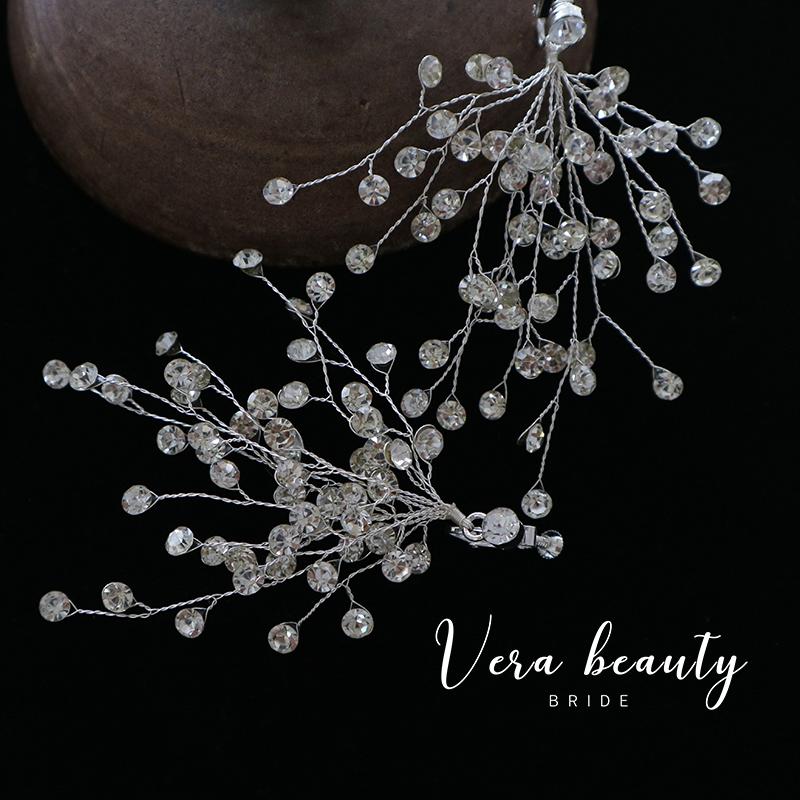 韩式新娘白色水钻满钻花枝耳环结婚婚纱宴会礼服饰品耳饰