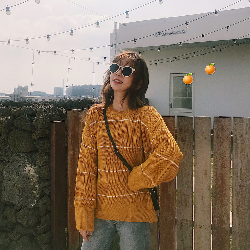 6057 real shooting autumn and winter lazy wind thick stick knitting fine stripe Pullover Sweater warm thick long sleeve loose women