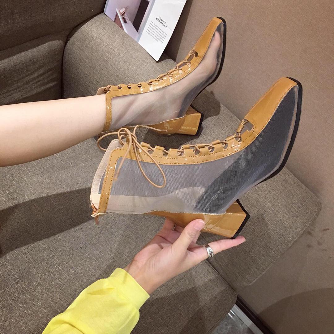 网红女靴春夏镂空短靴休闲网状高跟鞋欧洲站洞洞女单鞋中粗跟网鞋