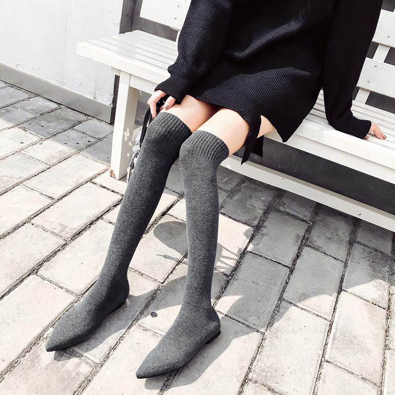 2018冬季夏季新款尖头平底高筒靴长靴袜靴粗跟弹力马丁女靴子女鞋