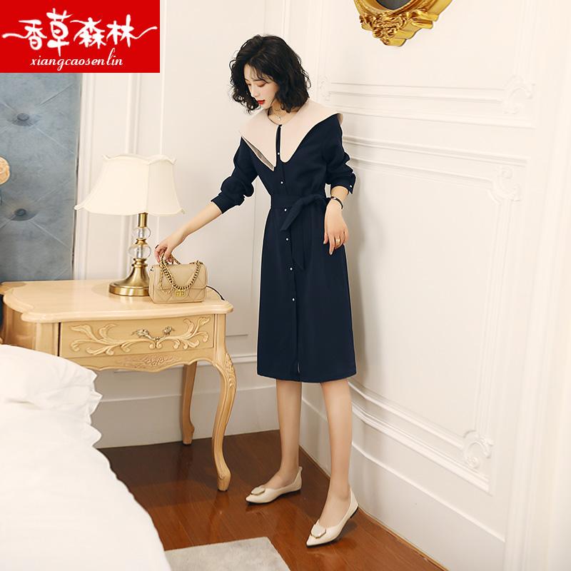 连衣裙女春秋2020年夏季新款女装流行收腰显瘦轻熟风洋气雪纺裙子