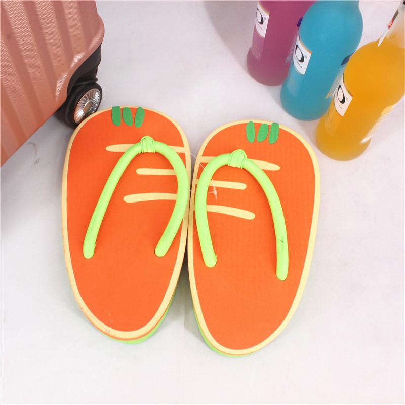 个性胡萝卜平底户外凉拖鞋女夏卡通可爱夹脚人字拖鞋水果沙滩鞋啦限5000张券