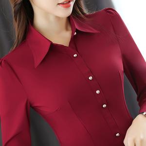 衬衫女长袖春装2020新款打底工作服职业衬衣女修身上衣女韩版春秋图片