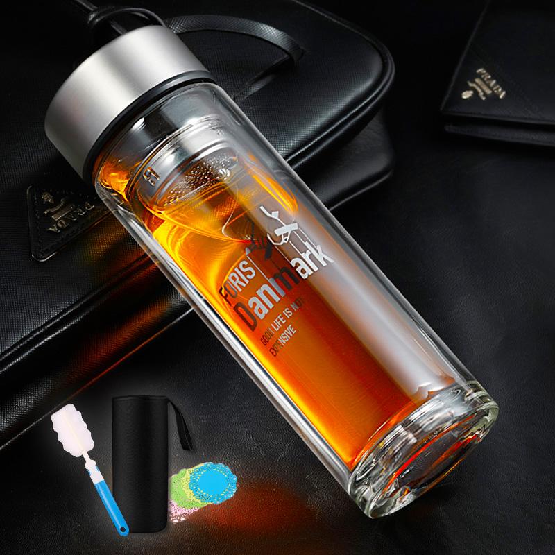 富瑞斯雙層玻璃杯加厚便攜水杯有蓋喝茶杯子男耐熱過濾泡茶杯定製