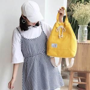 生书包韩版抽带多用双肩包女林小宅明星同款帆布休闲上新优雅成熟