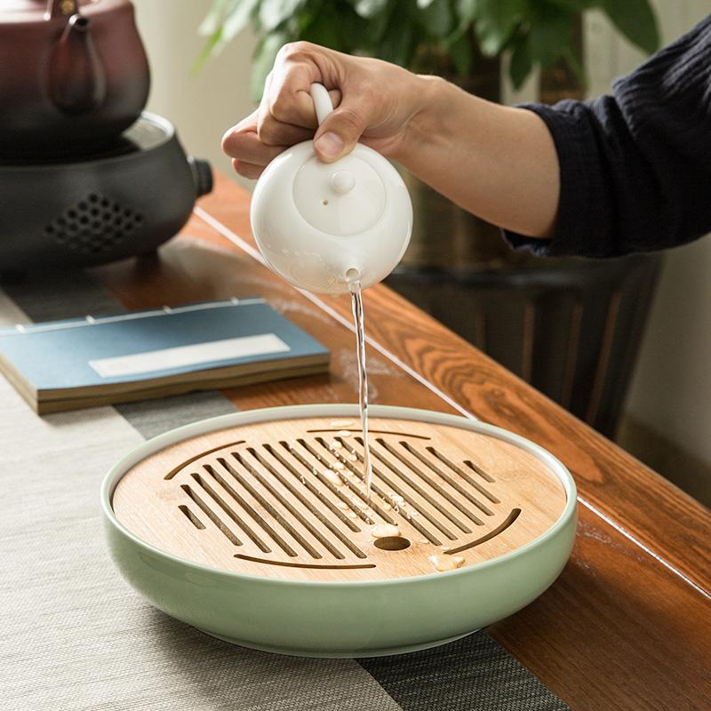 Керамика чайный поднос домой вид мораль город усилие чайный сервиз магазин вода японский круглый мини сухой пузырь чаинка тайвань бамбук чай лоток