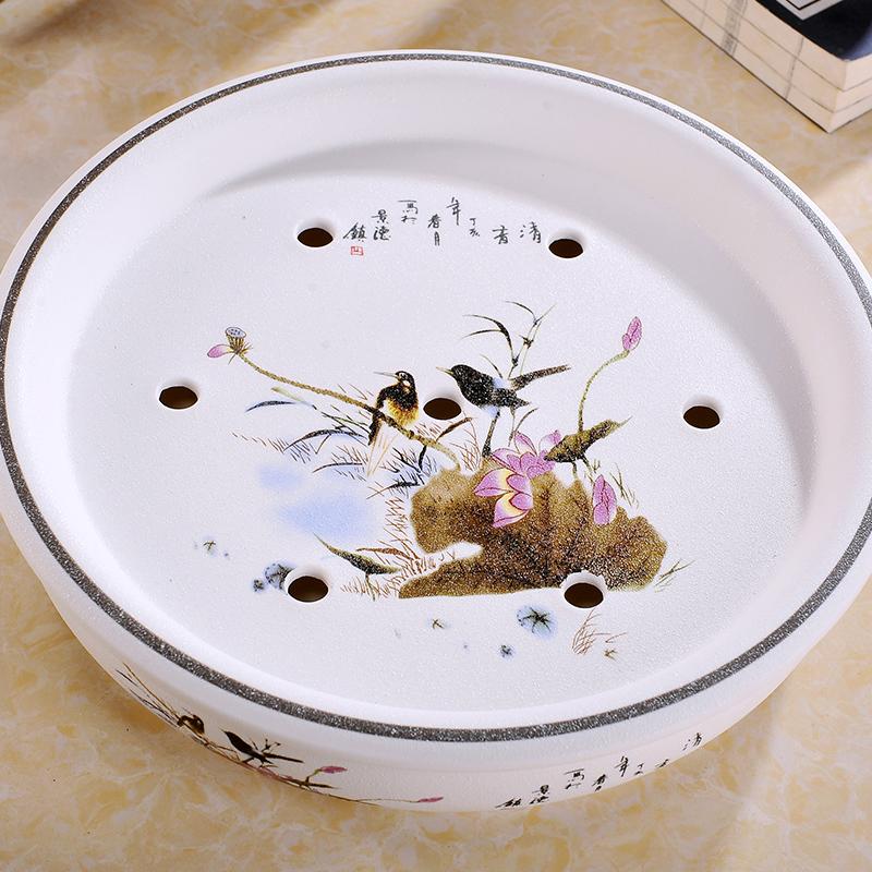 景德鎮陶瓷器茶盤托盤茶船圓形青花瓷功夫茶具儲水茶海雙層包郵