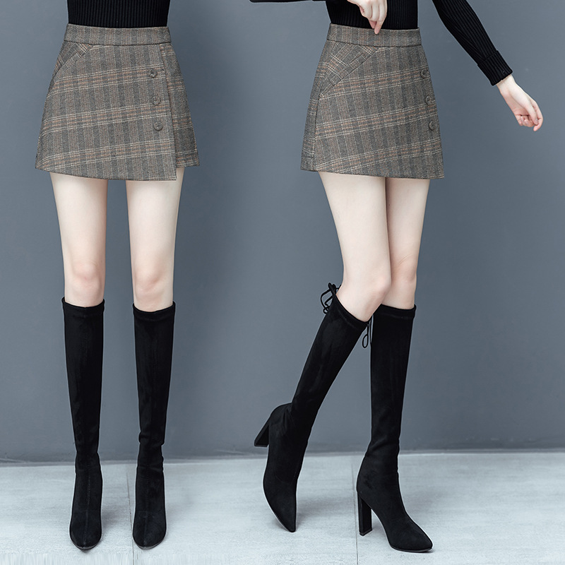 Plaid Shorts womens loose trousers skirt two pieces of autumn 2020 new irregular skirt pants womens pants look thin