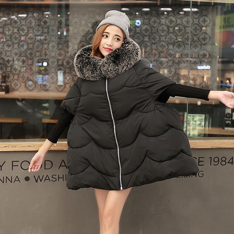 冬装斗蓬棉服女装欧美新款胖MM200斤外套宽松大毛领棉衣加厚棉袄