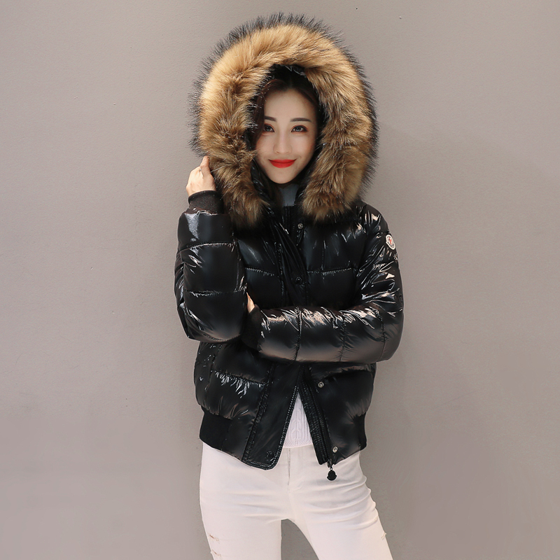 2019 winter new bright cotton dress womens Korean short down cotton padded jacket thickened large wool collar cotton padded jacket