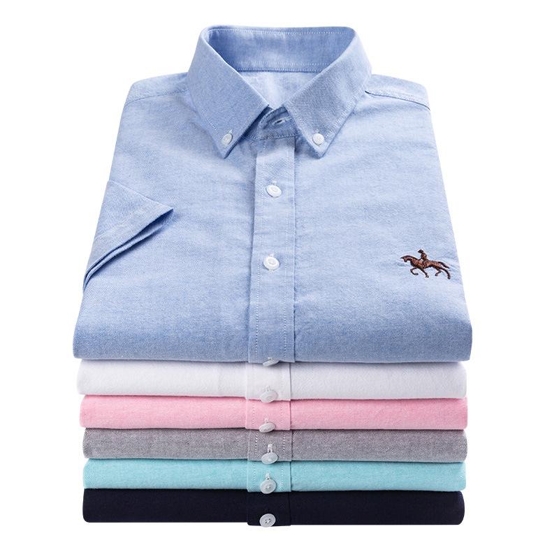 男士长袖衬衫修身纯棉牛津纺衬衣2020春夏季白色短袖寸衫男装半袖
