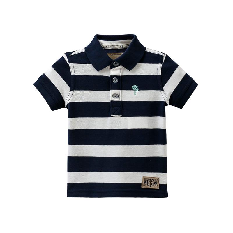 樂都特  男童純棉T恤條紋短袖POLO衫尖領 夏款 KL842
