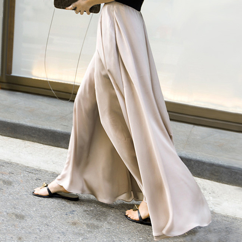 夏季显瘦阔腿裤女高腰长裤子缎面雪纺度假沙滩裤休闲裤宽腿裤裙裤