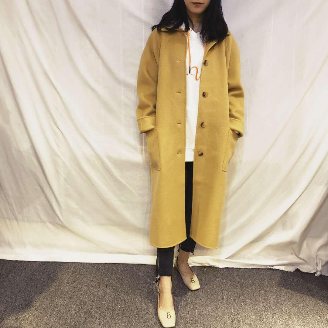 韩国东大门气质阔版型 反季黄色双面羊绒大衣女单排扣中长款2018