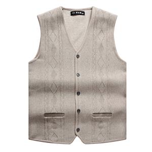 秋冬新款中老年男裝V領羊毛開衫背心爸爸裝毛衣針織馬甲坎肩大碼