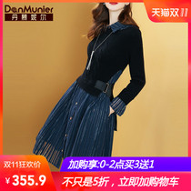 Dan Mu Nair fashion knit sweater skirt autumn and winter 2018 new long-sleeved fake two-piece dress female 11670