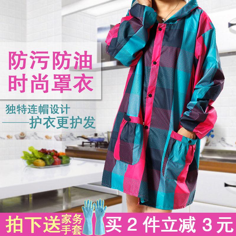 韩版时尚长袖围裙防水防油厨房做饭女罩衣成人工作服中长款秋冬厚