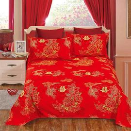 云艺婚庆斜纹加厚大红色床单单件结婚喜庆被套被单炕单新婚床上用图片