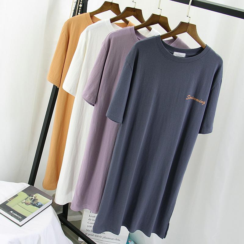 白色紫色2020新款中长款懒人t恤裙开衩宽松短袖连衣裙长款t恤女夏图片