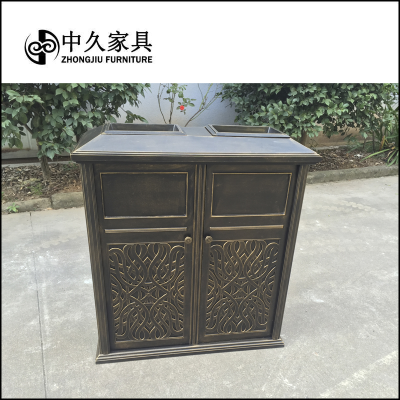 戸外别荘庭园のごみの桶の公共のごみの箱の会所の家庭はアルミニウムのごみの桶の双桶を鋳造します。